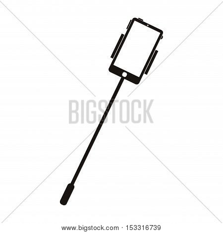 selfie stick with smartphone device over white background. vector illustration