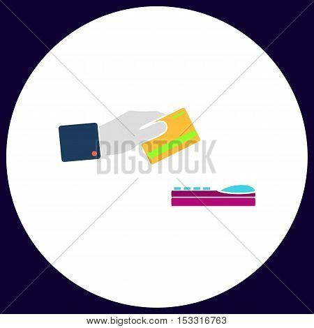 payment Simple vector button. Illustration symbol. Color flat icon