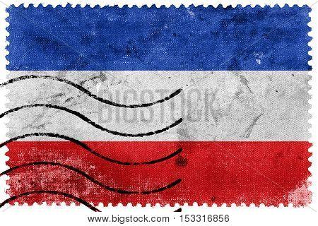 Flag Of Schleswig-holstein, Germany, Old Postage Stamp