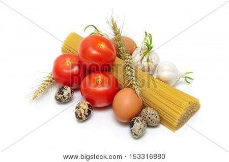 eggs pasta and vegetables isolated on white background. horizontal photo.