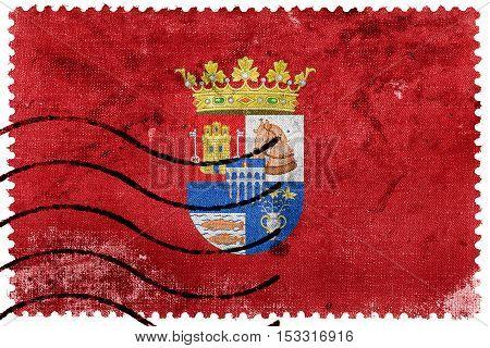 Flag Of Segovia Province, Spain, Old Postage Stamp