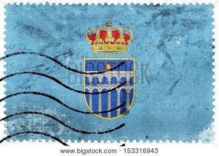 Flag Of Segovia, Spain, Old Postage Stamp