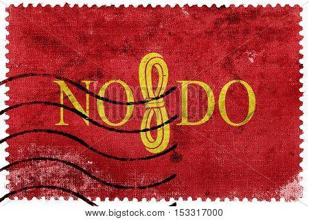Flag Of Seville, Spain, Old Postage Stamp