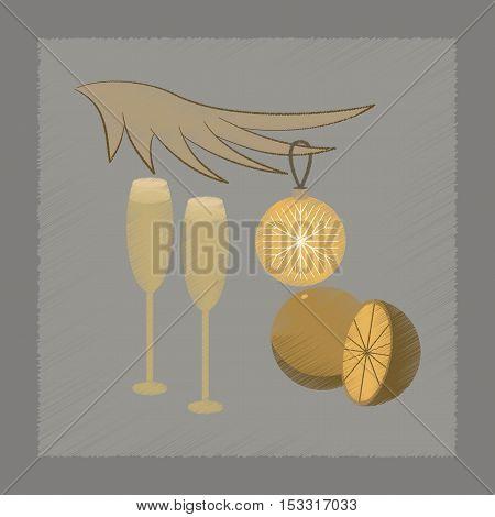 flat shading style icon of glasses champagne oranges