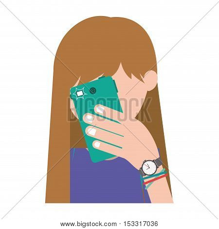 avatar female girl using a smartphone device taking a photo. vector illustration