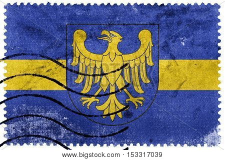 Flag Of Silesian Voivodeship With Coat Of Arms, Poland, Old Postage Stamp