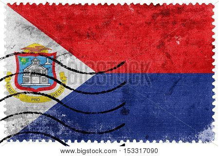 Flag Of Sint Maarten, Old Postage Stamp