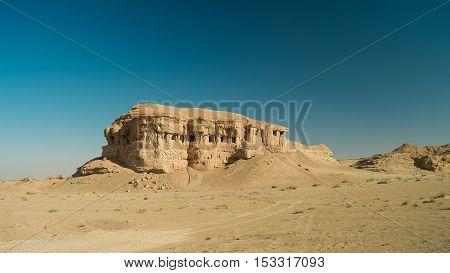 Butte at the dried shore of Razazza lake aka Milh lake or Sea of Salt Iraq