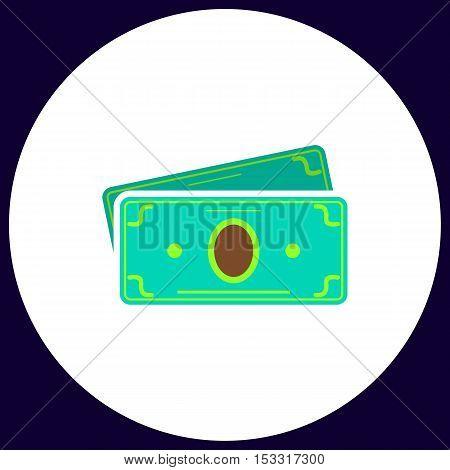 Cash Simple vector button. Illustration symbol. Color flat icon
