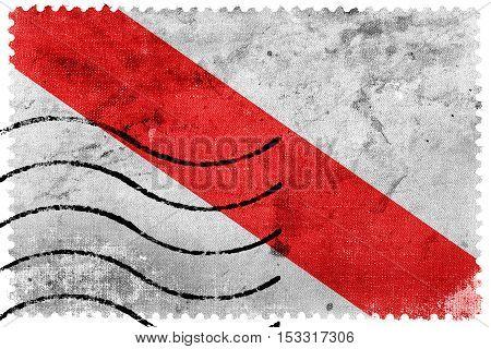 Flag Of Strasbourg, France, Old Postage Stamp
