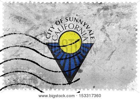 Flag Of Sunnyvale, California, Usa, Old Postage Stamp