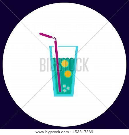 lemonade Simple vector button. Illustration symbol. Color flat icon