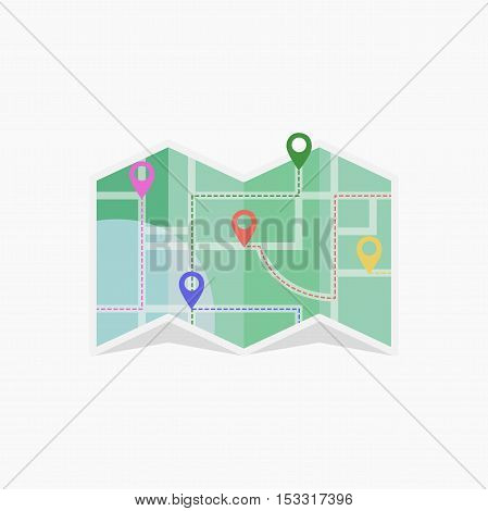Vector map icon with Pin Pointers eps jpg