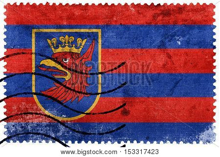 Flag Of Szczecin, Poland, Old Postage Stamp