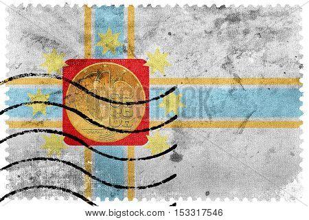 Flag Of Tbilisi, Georgia, Old Postage Stamp
