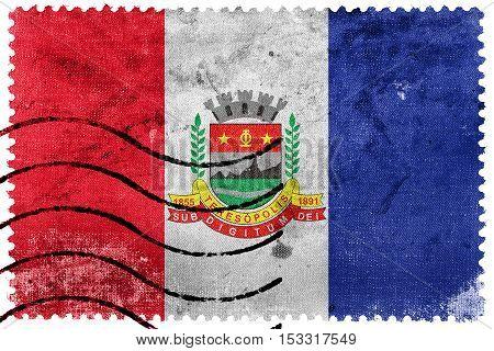 Flag Of Teresopolis, Rio De Janeiro State, Brazil, Old Postage Stamp