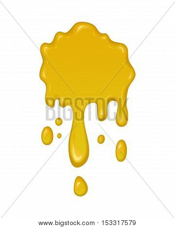 Vector splash of honey. Drop and splatter of yellow orange liquid. Abstract stain or blob of paint isolated on white. Cartoon design. Graphic element for banner or sticker.