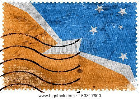Flag Of Tierra Del Fuego Province, Argentina, Old Postage Stamp