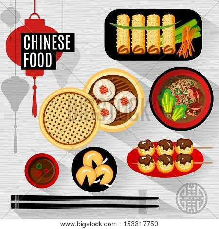 Set of flat, vector isolated elements chinese food. Chinese food box, plate, chopsticks, top view, silhouette lantern.
