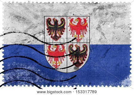 Flag Of Trentino - South Tyrol Region, Italy, Old Postage Stamp
