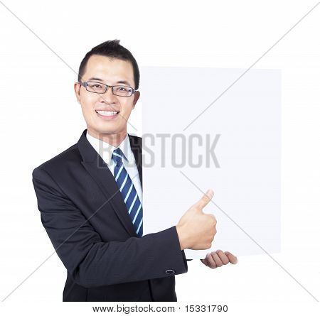 young businessman holding empty board and thumb up