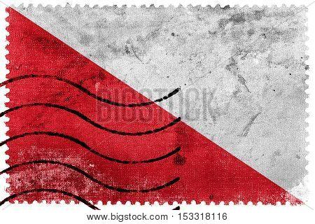 Flag Of Utrecht, Netherlands, Old Postage Stamp