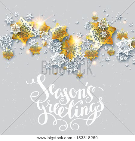 Greetings with shine snowflakes