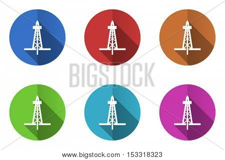 Oil and gas drilling technology flat design vector icons