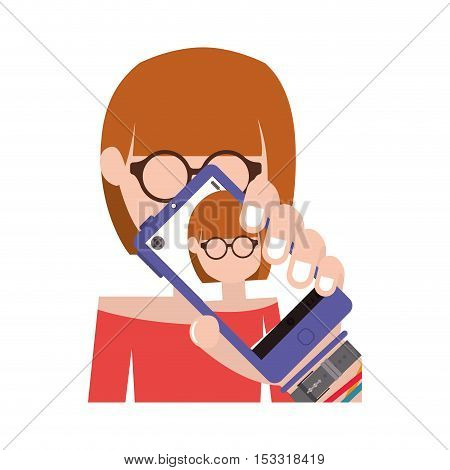 avatar female woman taking a photo selfie with smartphone device over white background. vector illustration