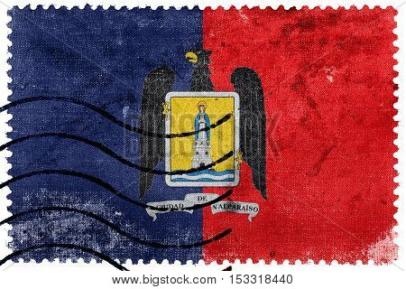 Flag Of Valparaiso, Chile, Old Postage Stamp