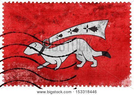 Flag Of Vannes, France, Old Postage Stamp