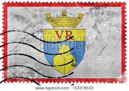 Flag Of Victoria, Gozo Region, Malta, Old Postage Stamp