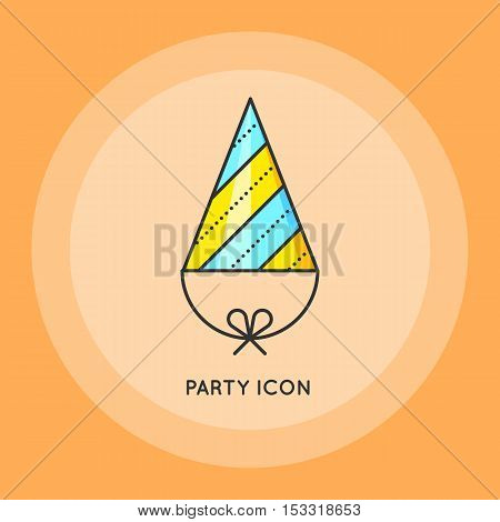 Party hat. Symbol of holiday of birthday celebration. Flat design. Thin line style. Vector flat illustration.