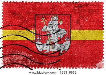 Flag Of Vilnius, Lithuania, Old Postage Stamp
