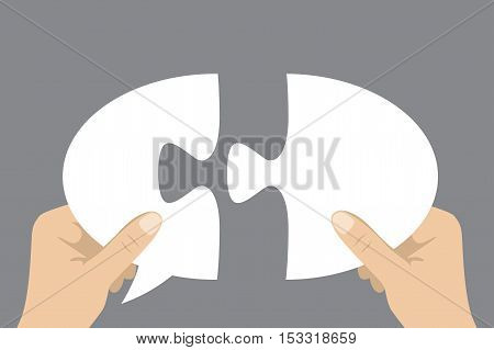 hands holding two puzzle speech bubble pieces stock vector illustration