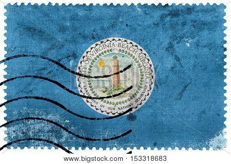 Flag Of Virginia Beach, Virginia, Usa, Old Postage Stamp