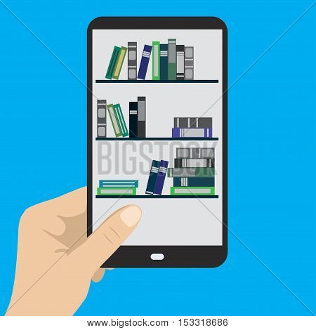 Smartphone in hand e-book on mobile phone stock vector illustration