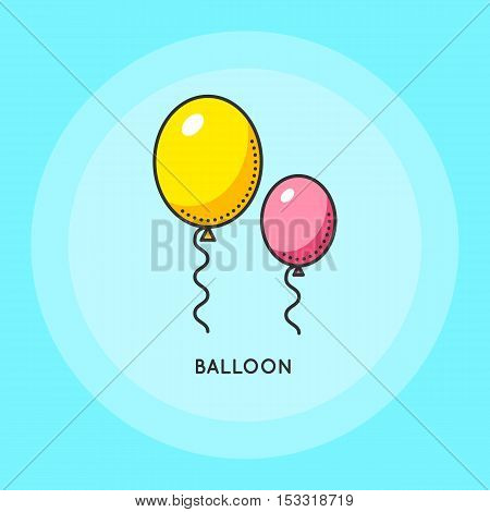 Air balloons for party. Symbol of celebration or birthday. Thin line icon. Black and white logo. Vector flat illustration.