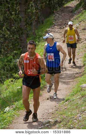 Marathon runners at God's trail marathon on mount Olympus, Greece