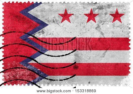 Flag Of Washington, Maine, Usa, Old Postage Stamp