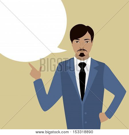 Businessman with bubble speech cartoon vector illustration