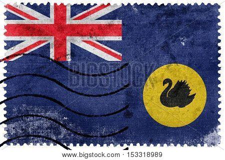 Flag Of Western Australia State, Australia, Old Postage Stamp