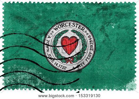 Flag Of Worcester, Massachusetts, Usa, Old Postage Stamp