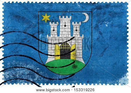 Flag Of Zagreb, Croatia, Old Postage Stamp