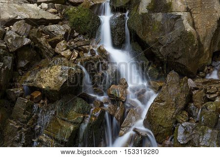 Mountain stream flowing among the mossy stones