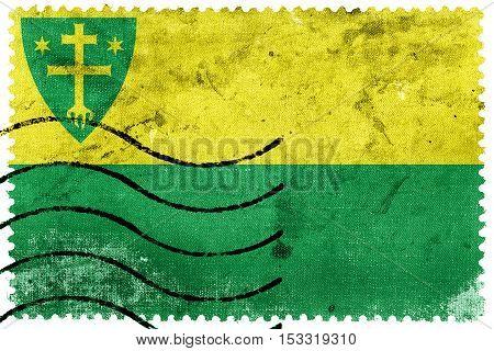 Flag Of Zilina City, Slovakia, Old Postage Stamp