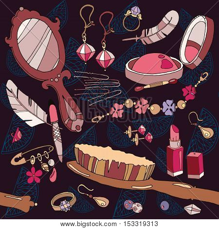 Fashion background woman accessories seamless pattern jewelery and cosmetics hand drawn vector