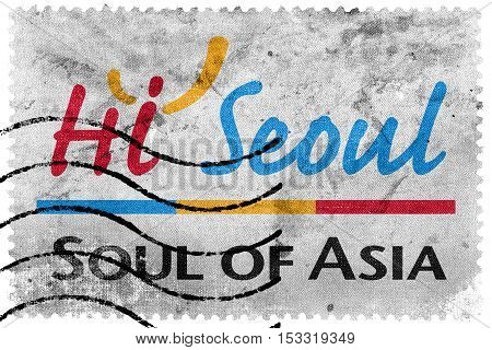 Slogan Of Seoul, Hi Seoul, Soul Of Asia, South Korea, Old Postage Stamp