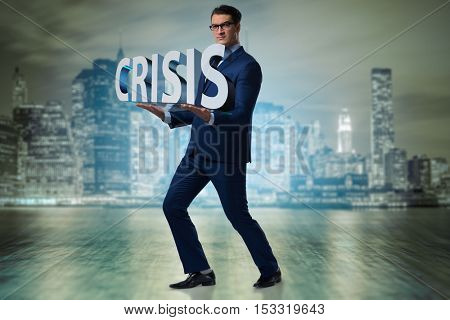 Man struggling with crisis in business concept
