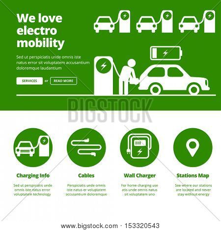 Man charging electric car by charging station. Banners for one page website design template.